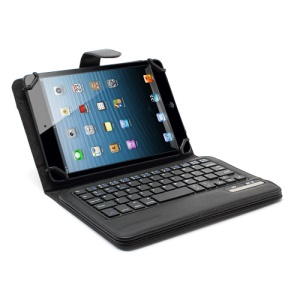 Universal 7-inch / 8-inch Tablet PC Bluetooth Keyboard Case Leather Cover w/ Elastic Strap Frame - Black