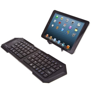 Black IBK-03 Foldable Wireless Bluetooth Keyboard with Stand, Support iOS Android Windows