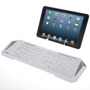 White IBK-03 Foldable Wireless Bluetooth Keyboard with Stand, Support iOS Android Windows