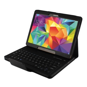 Leather Case Bluetooth Keyboard w/ Remote Shutter & Stand for Samsung Galaxy Tab S 10.5 T800 T805 - Black