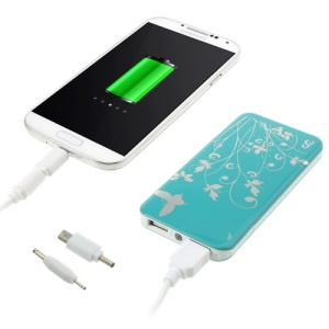 4000mAh Butterfly Flowers Dual USB Charger Power Bank for iPhone iPod Samsung Sony - Blue