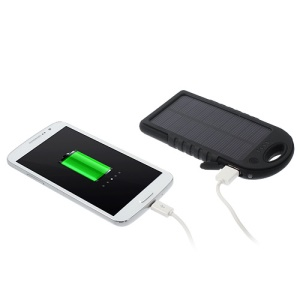 YD-T011 5000mAh Solar Power Bank for iPhone iPod Samsung Sony etc - Black