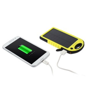 YD-T011 5000mAh Solar Powered Backup Battery for iPhone iPod Samsung Sony etc - Yellow