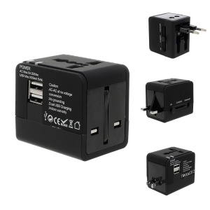 US UK EU AU 4 in 1 International Travel Charger Adapter w/ Dual-USB for iPhone Samsung Sony LG HTC Nokia Etc.