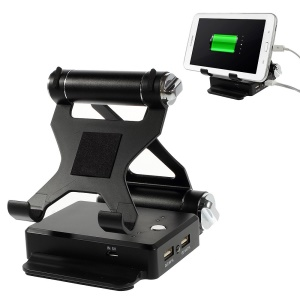 9000mAh Foldable Stand Dual-USB 2.1A Power Bank for iPhone iPad Samsung HTC & Tabs & Digital Devices Etc - Black