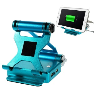 Foldable Stand Dual-USB 2.1A Power Bank 9000mAh for iPhone iPad Samsung Sony & Tabs & Digital Devices Etc - Blue