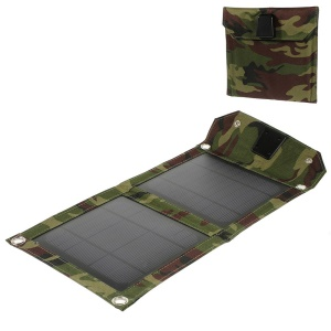 Camouflage 5 Watts Folding Outdoor Solar Power Charger for iPhone iPad Samsung HTC Smartphone Tablet