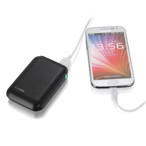Cager B15 7200mAh Leather Texture Dual-USB Power Bank for iPhone iPad Samsung - Black