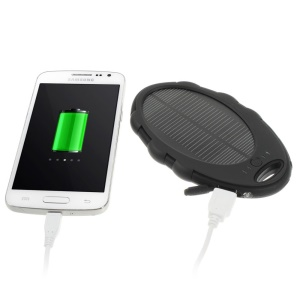 Mirror Shaped 5000mAh Dual-USB Solar Power External Battery Charger for iPhone iPod Samsung Sony etc - Black