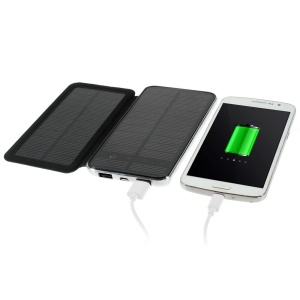 RIPA 10000mAh Dual Outputs Solar Panel Power Bank with Front Flip Cover