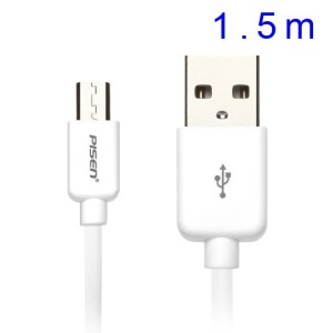 Pisen 1.5M Micro USB Data Transmit Charge Cable for Samsung HTC Sony LG Huawei Xiaomi Etc - White