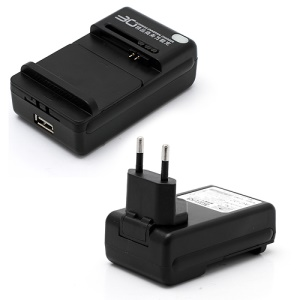 Business Universal Battery Charger w/ USB Port for All Cell Phone - EU Plug