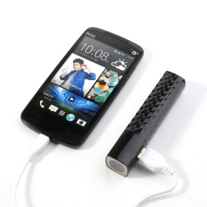 Black 2600mAh Lipstick LED Flashlight Power Bank for iPhone Samsung HTC LG Sony etc