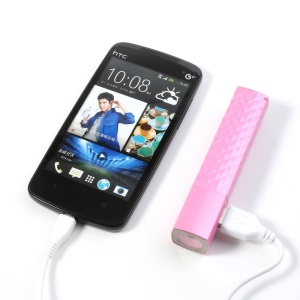 Pink 2600mAh Lipstick LED Flashlight Power Bank for iPhone Samsung HTC LG Sony etc