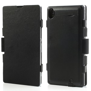 3500mAh Leather Battery Charger Case w/ Stand for Sony Xperia Z1 C6903 L39h - Black