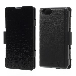 3500mAh Croco Leather Flip Power Pack Charger Case w/ Stand for Sony Xperia Z1 Compact D5503 - Black