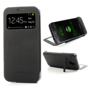 Black Window View Battery Charger Case Flip Cover for Samsung Galaxy Mega 6.3 I9200, with Wake up / Sleep Function