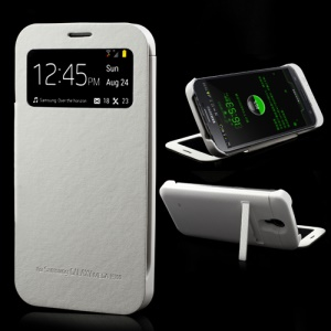 White Window View External Battery Case Flip Cover for Samsung Galaxy Mega 6.3 I9200, with Wake up / Sleep Function