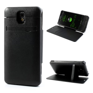 Black 4200mAh Backup Battery Leather Flip Cover for Samsung Galaxy Note 3 w/ Card Slots & Stand