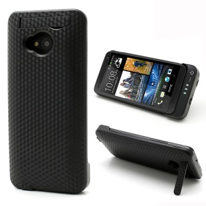 Black 3800mAh Cubic Texture External Battery Charger Case w/ Stand for HTC One M7 801e