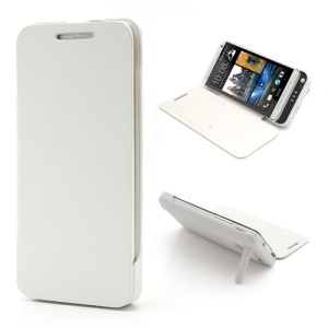 White 3800mAh Cubic Texture Power Bank Battery Charger Case w/ Front Leather Cover for HTC One M7 801e