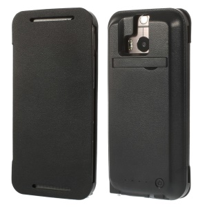 Black 3800mAh Flip Leather Battery Charger Case w/ Stand for HTC One M8