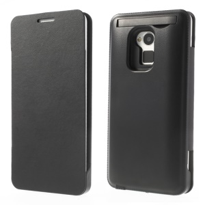 4200mAh External Battery Backup Charger Leather Case for HTC One Max - Black