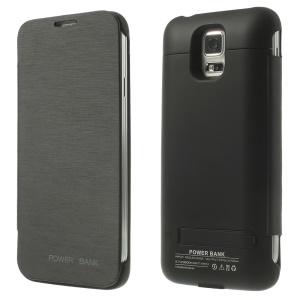 3200mAh Leather Flip Power Bank Charger Case w/ Kickstand for Samsung Galaxy S5 G900 - Black