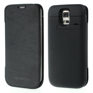 4800mAh Leather Flip Power Pack Charger Case w/ Kickstand for Samsung Galaxy S5 SV G900 - Black