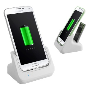 2 in 1 USB 3.0 Charger Dock Cradle Holder + Battery Slot for Samsung Galaxy S5 G900 - White