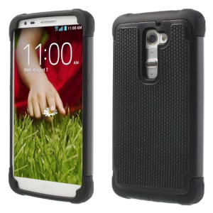 Black Football Grain PC & Silicone Combo Cover for LG Optimus G2 D801 D802