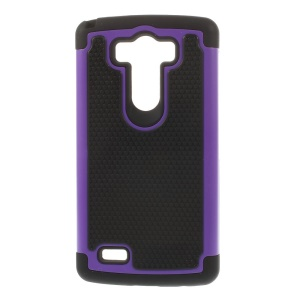 For LG G3 D850 D855 LS990 Football Grain PC + Silicone Combo Shell - Purple