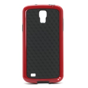 Cool 3D Cube Texture Plastic & TPU Case Cover for Samsung I9295 Galaxy S4 Active I537 AT&T - Black / Red