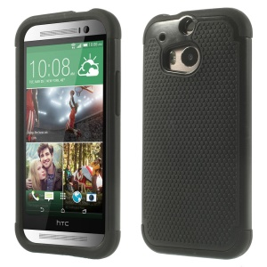 Football Grain PC + Silicone Combo Case for HTC One M8 - Black