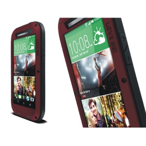 LOVE MEI Metal Silicone Shockproof Dropproof Dustproof Cover for HTC One M8 - Black / Red