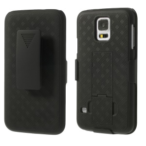 Diagonal Pattern Holster Stand Case w/ Swivel Belt Clip for Samsung Galaxy SV GS 5 G900