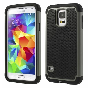 For Samsung Galaxy S5 G900 G900L G900D 2 in 1 Football Grain PC + Silicone Combo Cover - Grey
