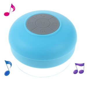 Mini Portable Waterproof Bluetooth Speaker with Suction Cup + Controls & Microphone - Blue