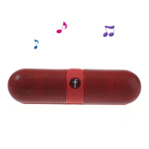 Red Fivestar F-808 Pill Design Multi-function Hi-Fi Bluetooth Speaker with MIC Support TF Card FM Hands-free