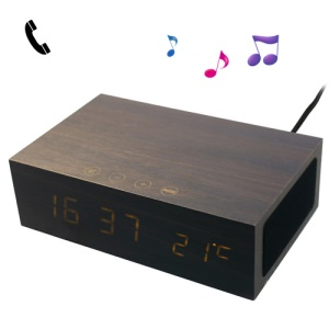Black W1 Wooden Bluetooth Alarm Clock Hands-free Speaker Thermometer Box w/ Two USB Output Ports
