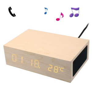 White W1 Wooden Bluetooth Alarm Clock Hands-free Speaker Thermometer Box w/ Two USB Output Ports