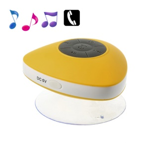 Mini Suction Cup Wireless Bluetooth Waterproof Speaker with MIC - Yellow