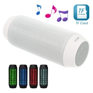 White AEC BQ-615 Multi-function Sports Bluetooth Speaker with MIC LED Light Support FM / TF Card / AUX-input