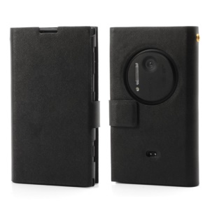 Black for Nokia Lumia 1020 Doormoon Genuine Leather Card Slot Case