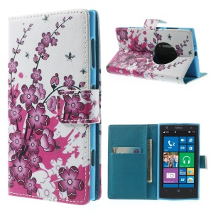 Cherry Blossom Magnetic Leather Cover w/ Stand for Nokia Lumia 1020 EOS 909 RM-876