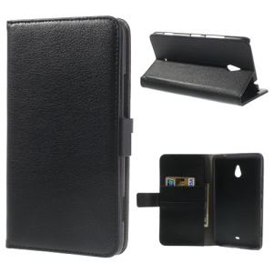 Litchi Leather Diary Stand Cover for Nokia Lumia 1320 RM-994 RM-995 RM-996 - Black