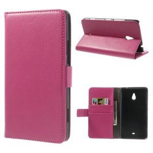 Litchi Leather Diary Stand Cover for Nokia Lumia 1320 RM-994 RM-995 RM-996 - Rose