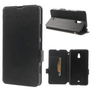 Doormoon Genuine Leather Stand Case w/ Card Slot for Nokia Lumia 1320 RM-994 RM-995 RM-996 - Black
