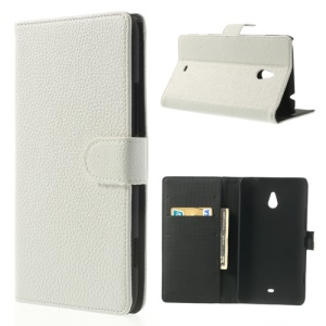 White Wallet Lychee Leather Cover Case for Nokia Lumia 1320 RM-994 RM-995 RM-996