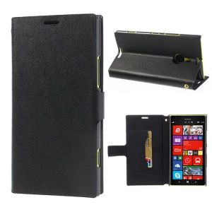 Black Doormoon Genuine Leather Case for Nokia Lumia 1520, with Card Slot & Stand